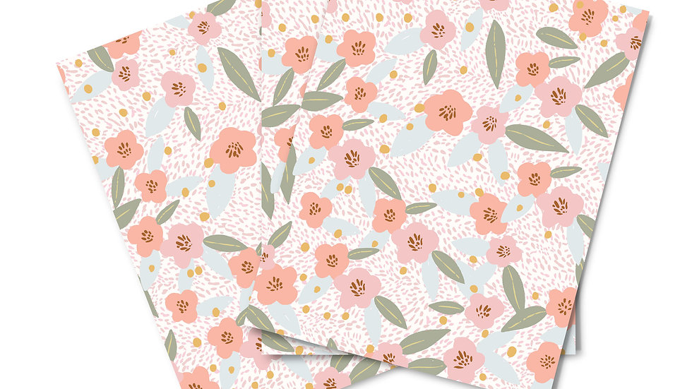 Note Card Set - Flower Garden Peach