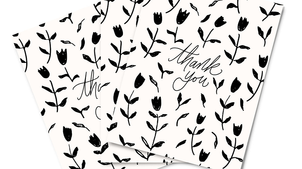 Note Card Set - Thank You Tulips Black