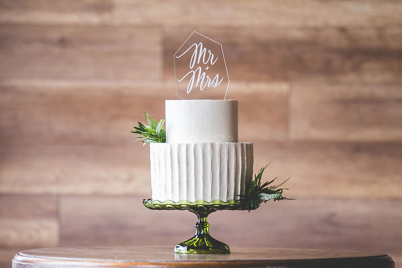 Modern Cake Topper - Crystal Gemstone Mr & Mrs Cake Topper