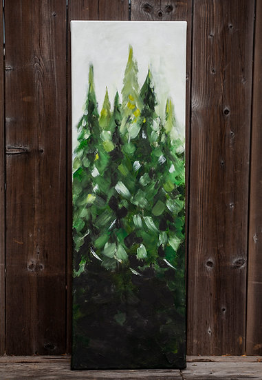 "'Evergreen Family 2' - 10x30"" Acrylic Painting on Canvas"