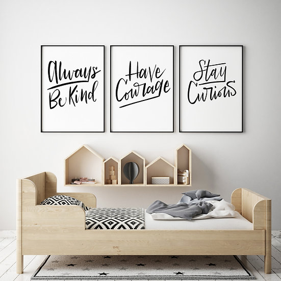 Hand-lettered Kids Mantras - Kids Room Artwork - Black Lettering - Kindness