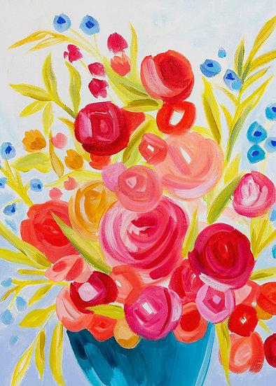 In Joy Floral Vertical Art Print