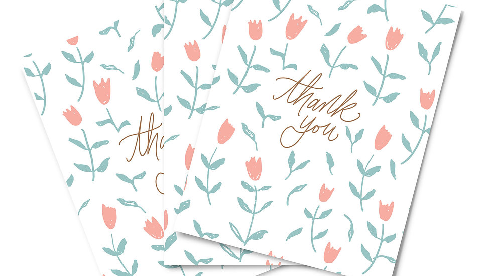 Note Card Set - Thank You Tulips