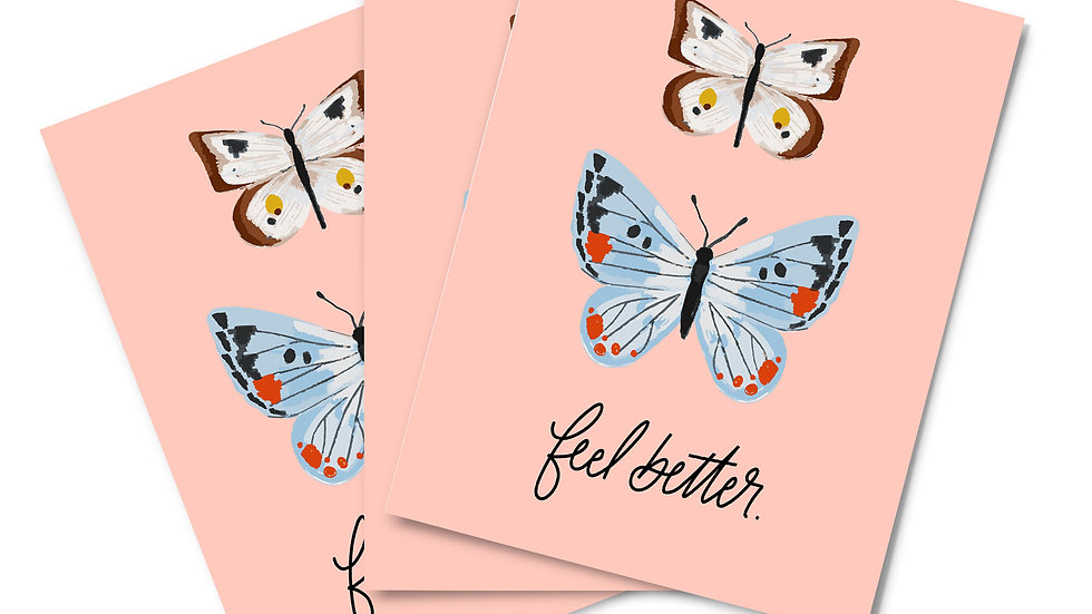 Note Card Set - Feel Better Butterflies