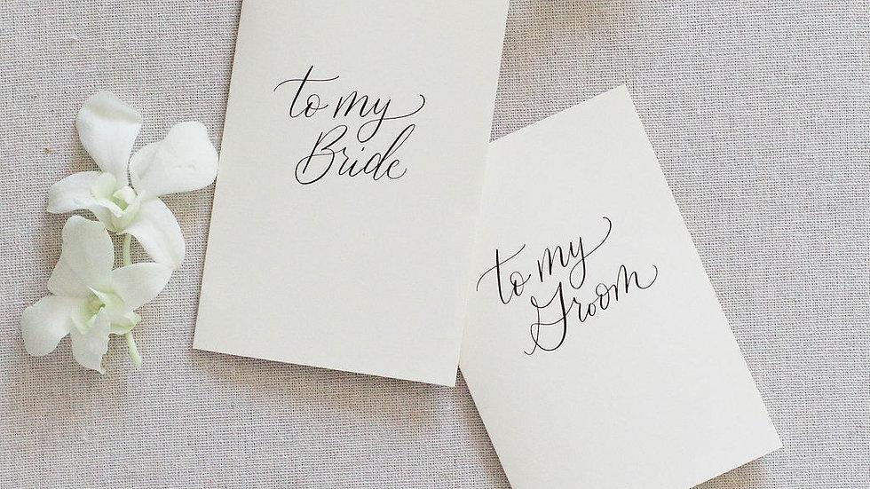 Bride + Groom Vow Card Set