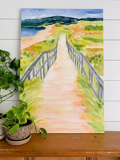 "Boardwalk at Inverness Beach - 24x36"" Acrylic Painting on Canvas"