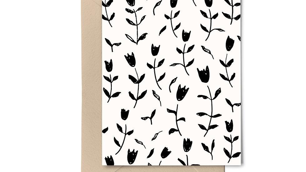 Note Card Set - Tulips Black