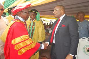 Gov. Udom Emmanuel with Douglas Boateng.