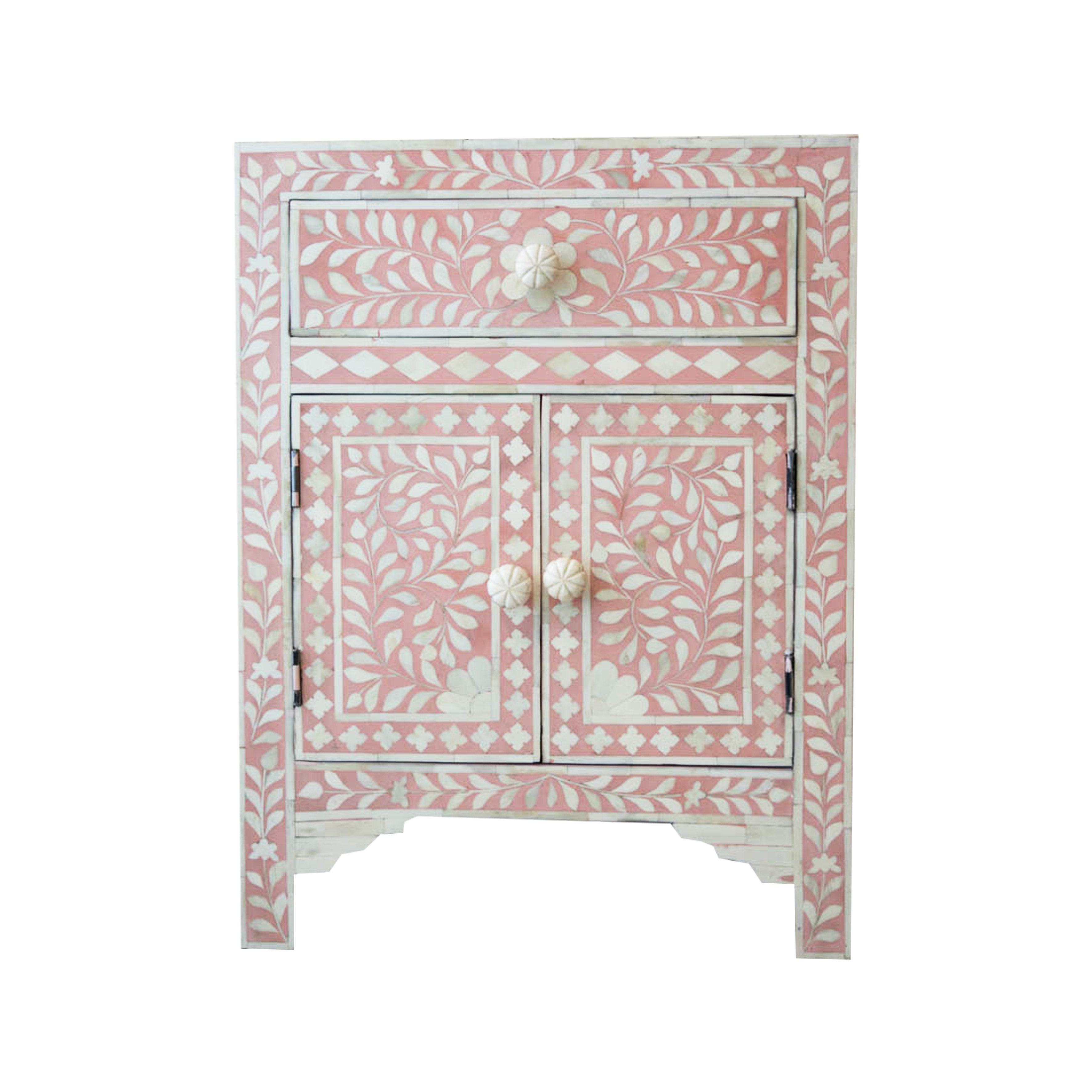 Soft Blush Pink And White Bone Inlay Floral Bedside Table 1 Drawer 1 Cupboard