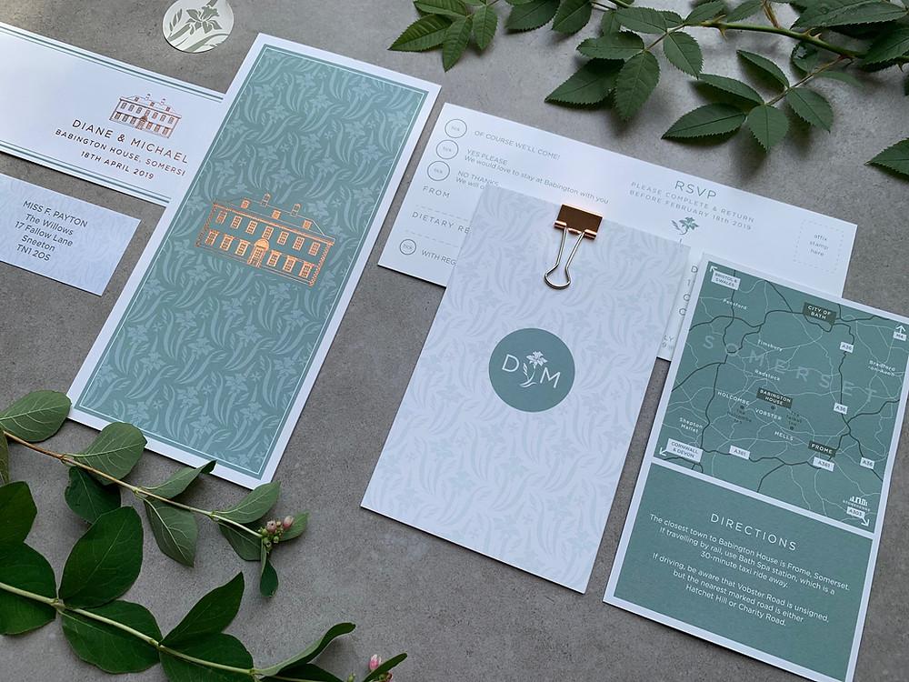 Bespoke wedding stationery with bespoke pattern and wedding map at Babington House