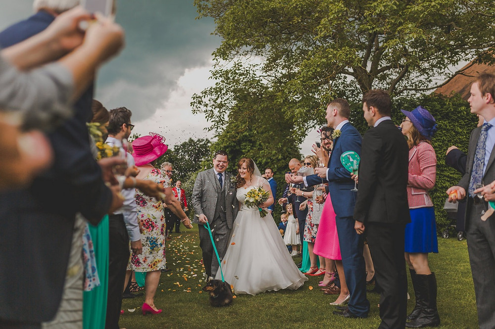 Colour pop wedding at Micklefield Hall with Frank the wedding dog and Fan order of services - Deabill and Quince