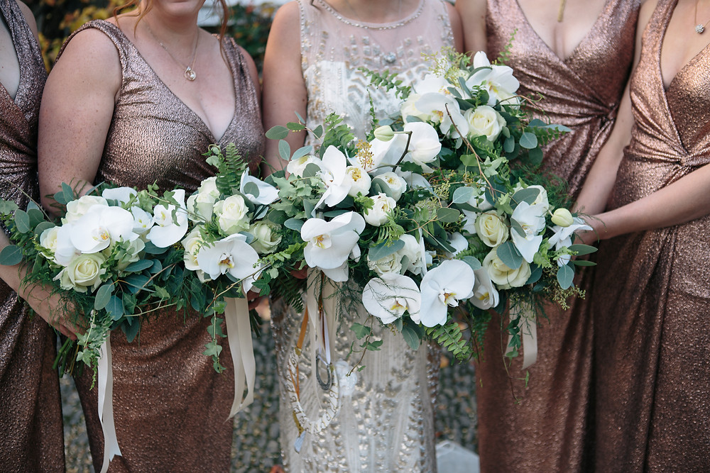 White and green neutral colour palette for a Northbrook Park Bonfire Night wedding with Jenny Packham Dress