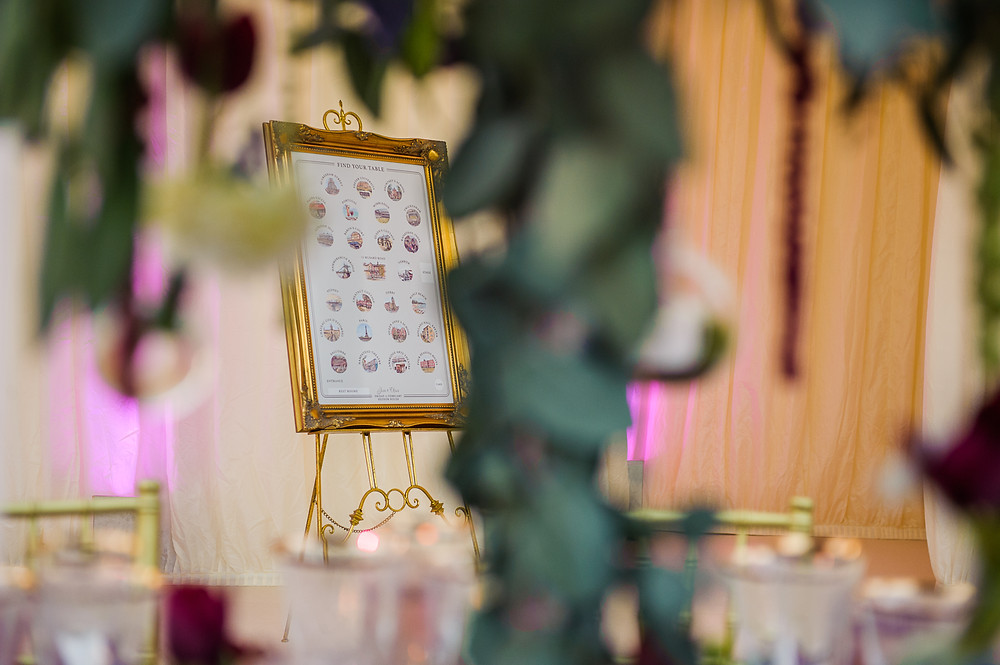 Bespoke table seating plan for marquee wedding at Hedsor House