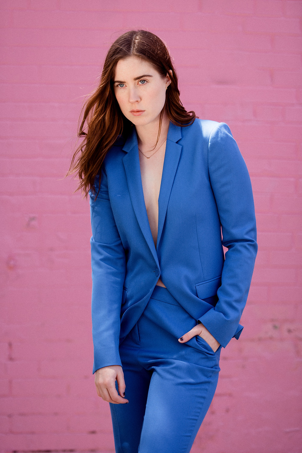 top shop, fashion, lifestyle, blog, model, pink, blue, suit up, redhead, style