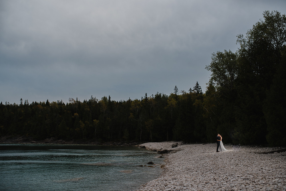 wedding photography, tobermory, bride, groom, portrait, wedding day, sunset