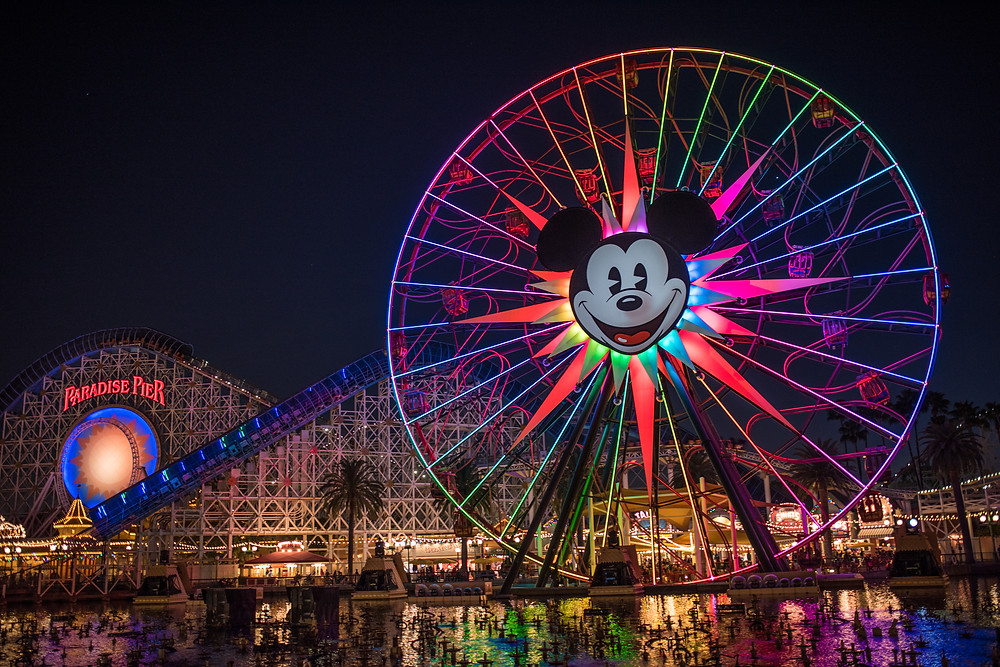Disneyland, California Adventure. Pier, Ferris Wheel, Long Exposure