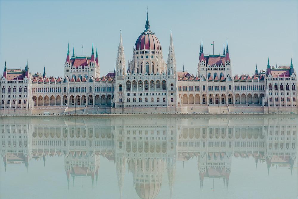 Hungary, Budapest, Parliament, Reflections