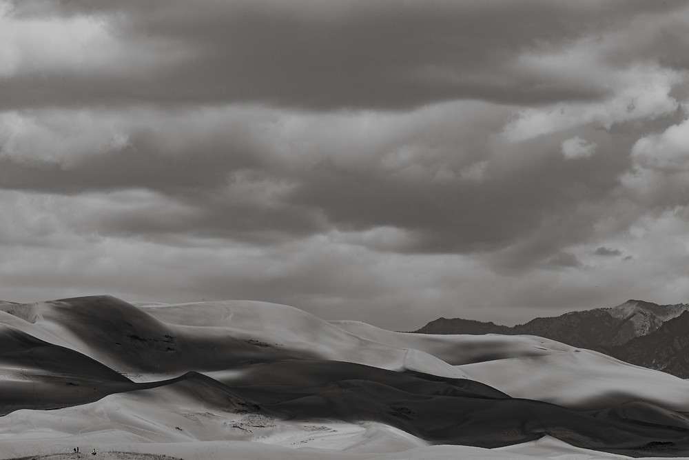 clouds, sand, national park, national preserve, Colorado, black and white, sand dunes, great sand dunes, fine art
