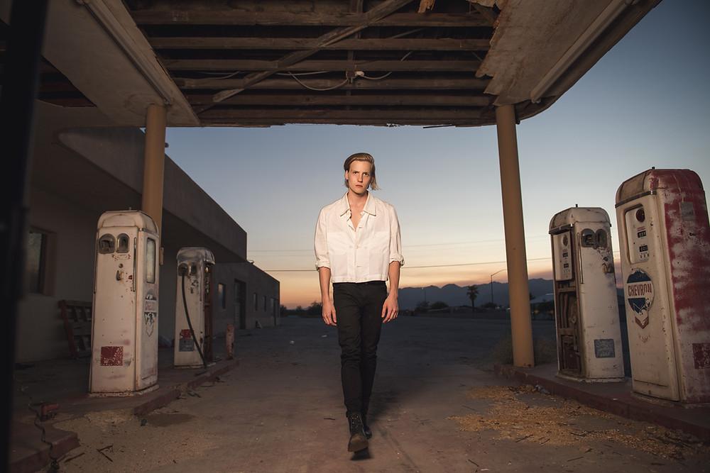 desert center, ragsdale, abandoned, model, male model, men's fashion, fashion, gas station, history, California, adventure, stars, long exposure, nikon, milkyway, salton sea, desert