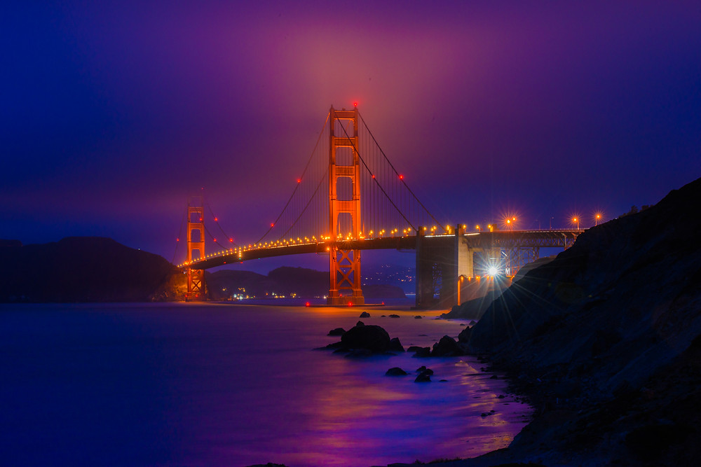 Golden Gate Bridge, Marshall Beach, San Francisco, Long Exposure, Night Photography