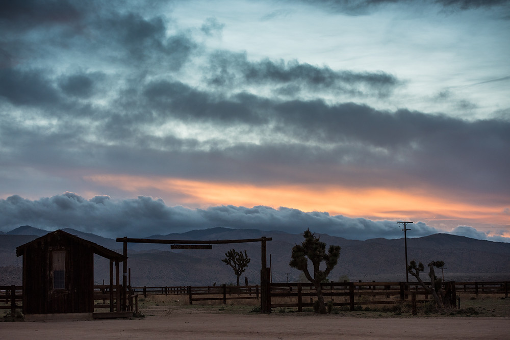 Sunset, Clouds, Magic Hour, Joshua Tree, California, OK Corral, Ranch, Western, Red Dead Redemption, Westworld