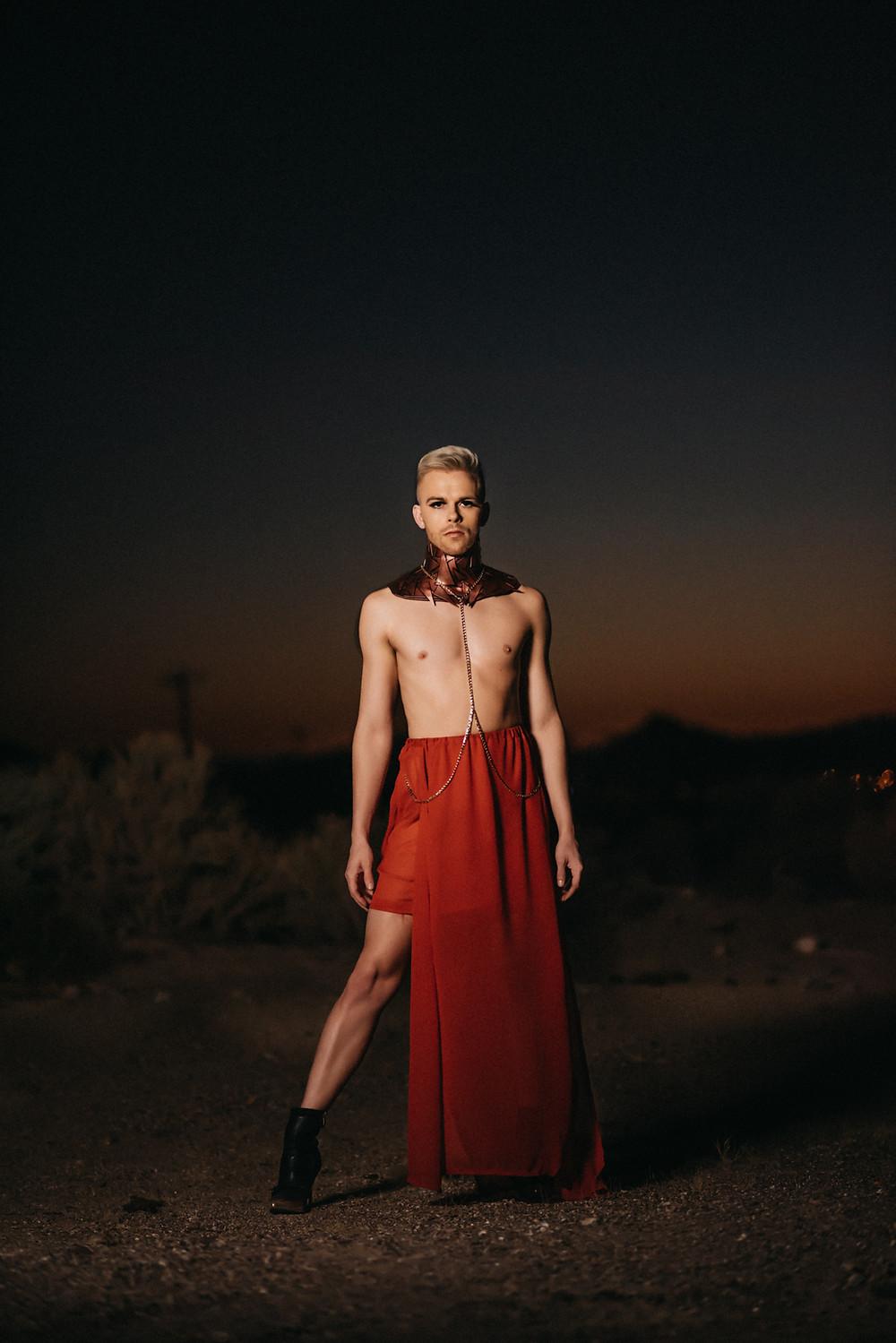 fashion, model, drag, los angeles, editorial, desert, sunset