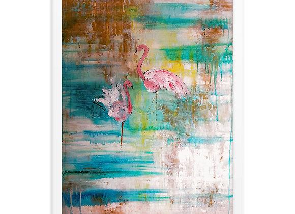 Flamingo Color Print Framed Poster