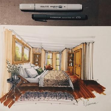 Quick sketch of a bedroom