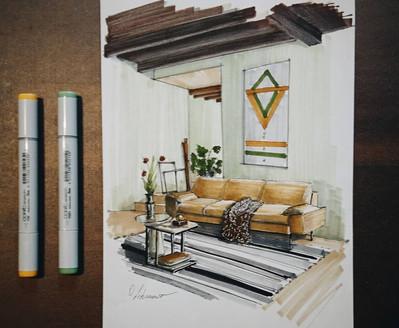 Quick sketch of a livingroom