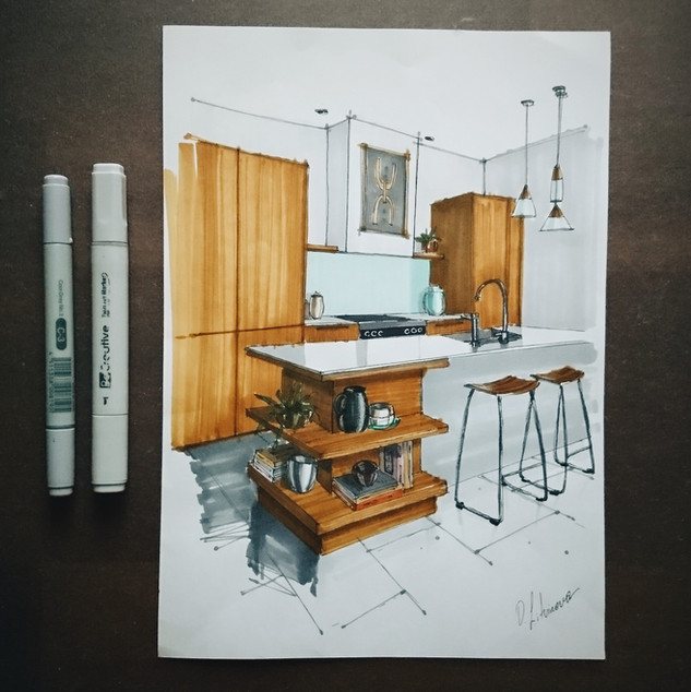 Quick sketch of a kitchen