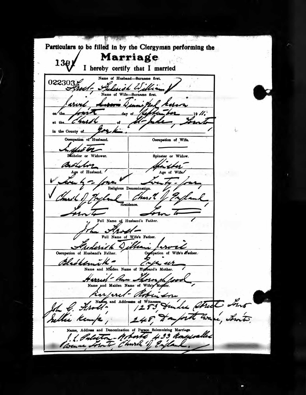 The marriage of Winifred Marion Jarvis to Frederick William Frost on September 4th 1911.