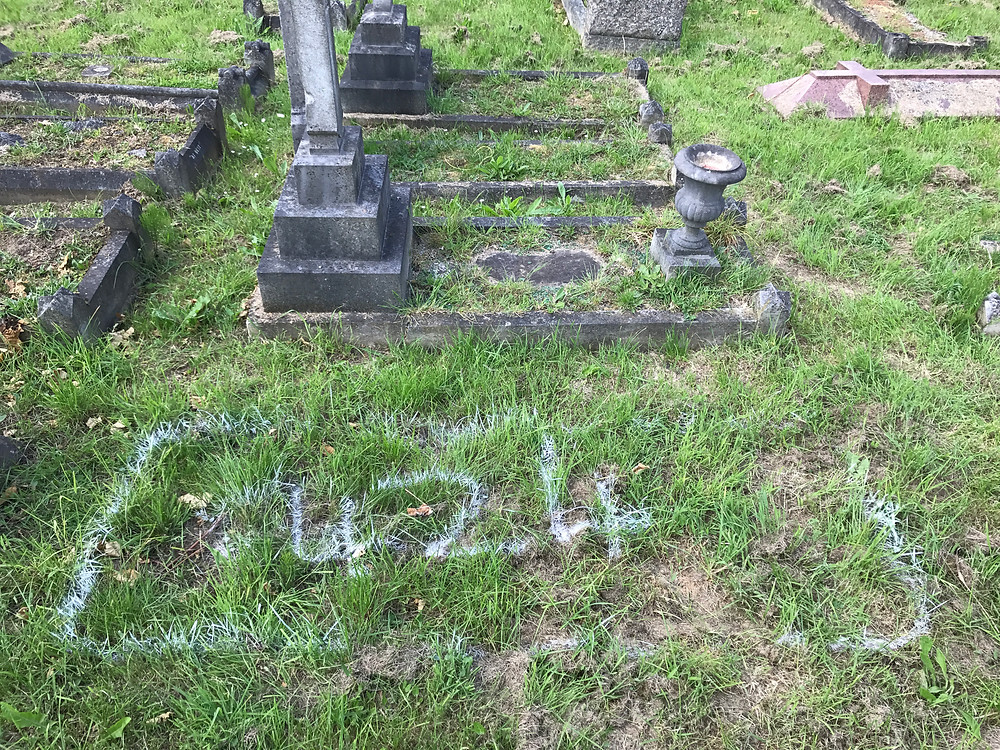 Maria Hopps grave.  The cemetery superintendent had graciously marked it for me.