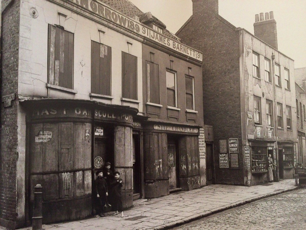 89 and 91 Three Colt Street at the end of the 19th Century.  Note two of the children are not wearing shoes.