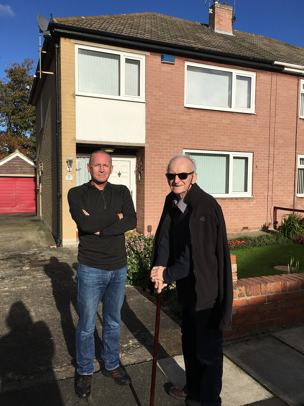 Dad and I standing outside 32 Hollywalk Drive in 2016