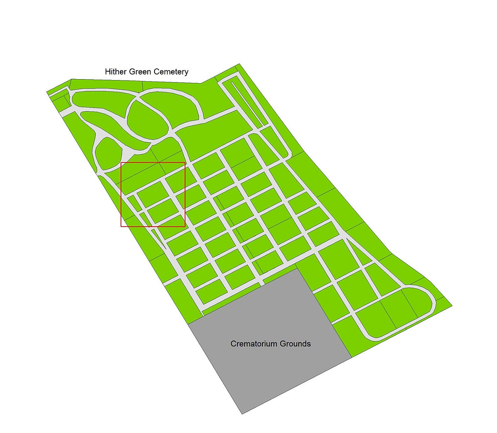 The map provided by deceased online of Maria Hopp's grave
