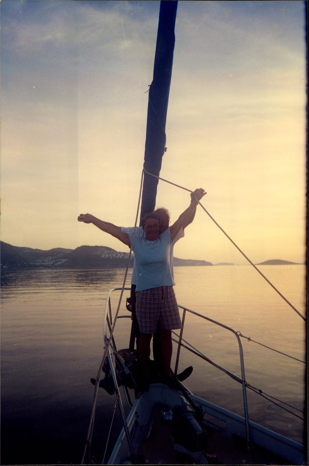 Mum and Dad on their yacht in the Aegean sea