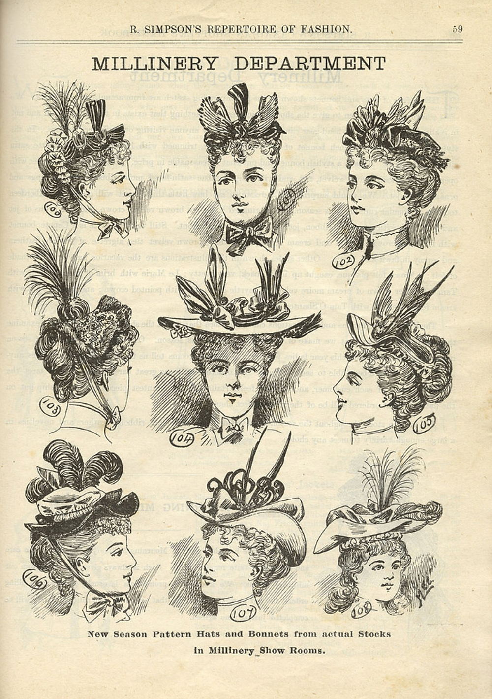 Advertisement for the Millinery department of Simpsons department store.