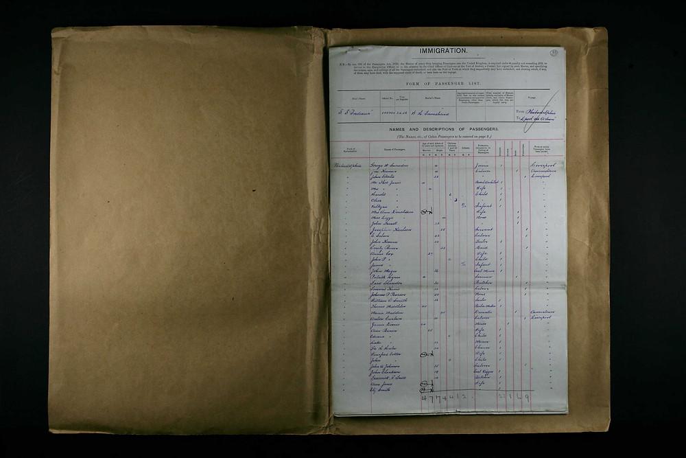 SS Indiana passenger manifest, 4 Oct 1895