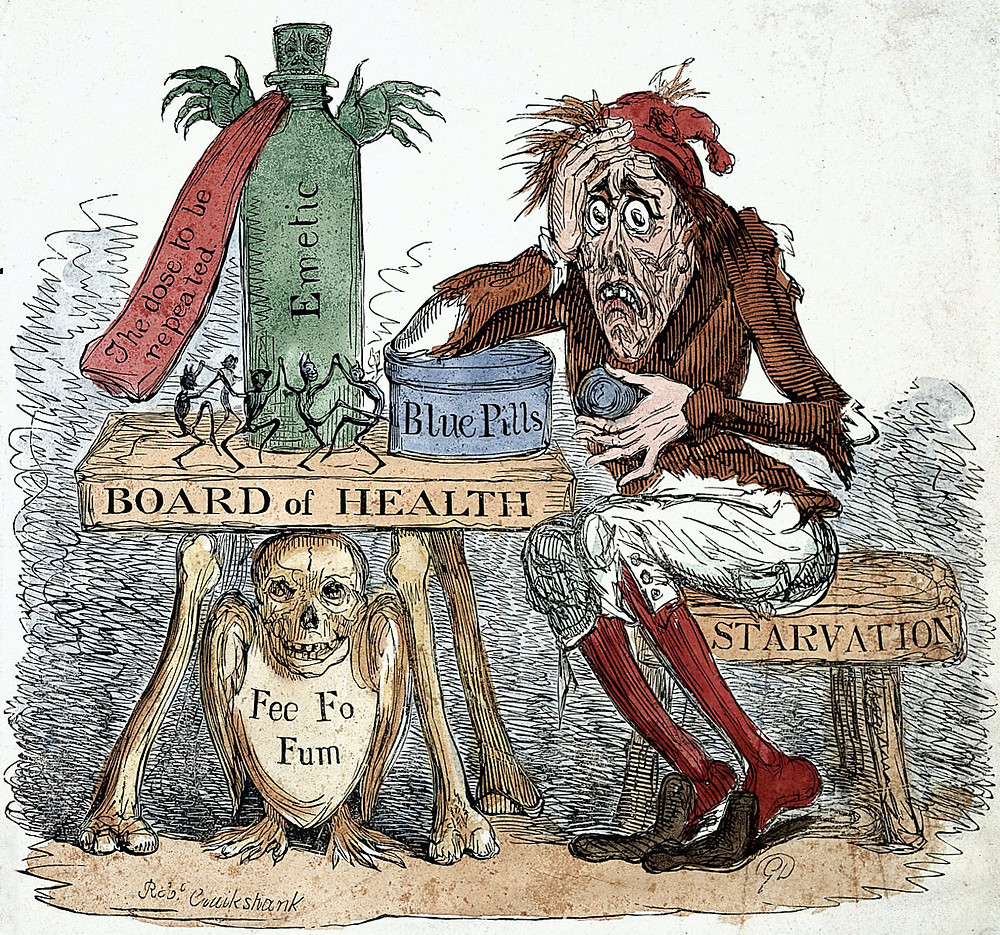 A satirical cartoon of the time lampooning the medical confusion over how to treat cholera.