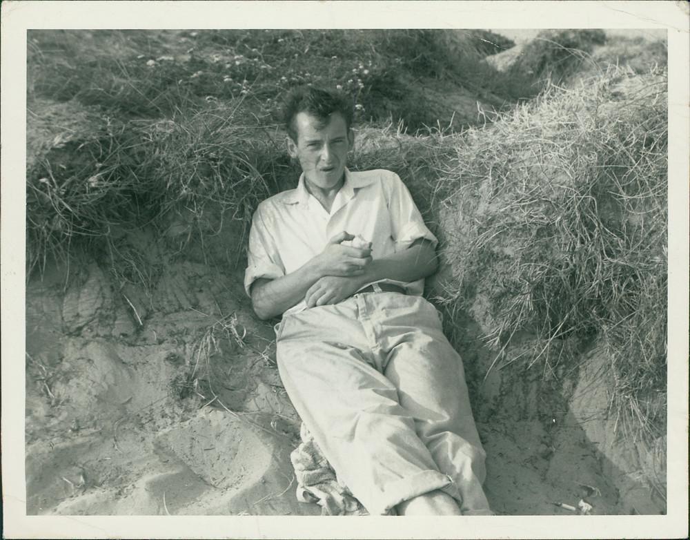 Dad, aged 23, in the sand dunes at Marske, Yorkshire