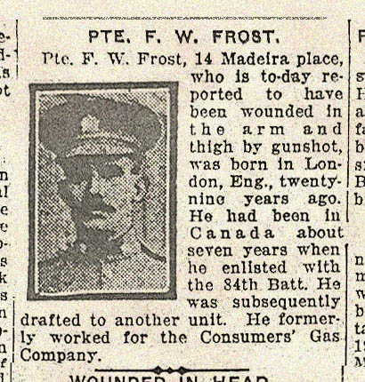 Toronto Star newspaper entry detailing Frederick Frost's injury.