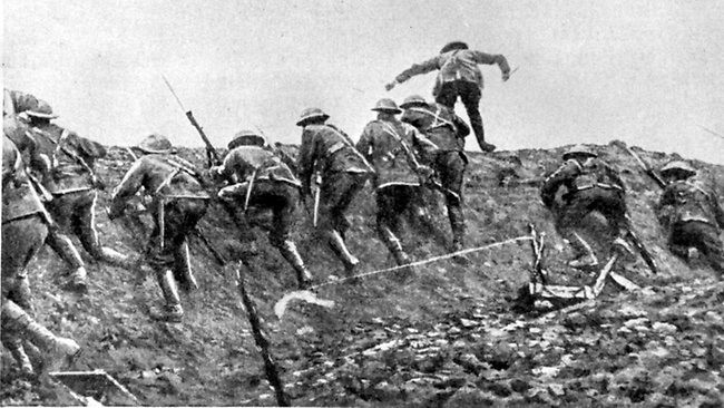 Going over the top in the Battle Of Ancre Heights, 1916