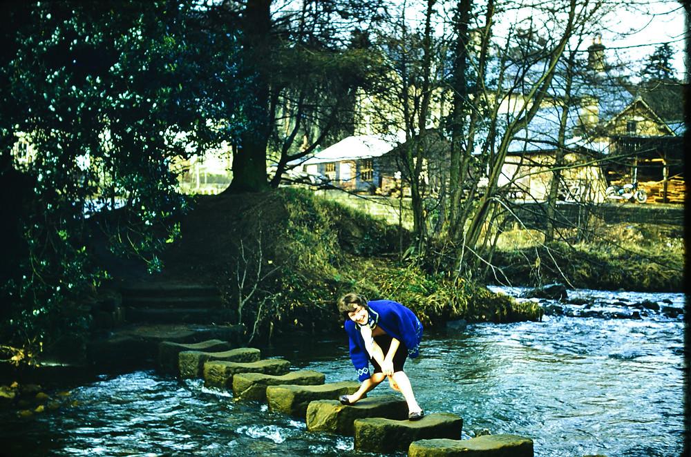 Mum on the stepping stones at Egdon Bridge where they had their honeymoon,