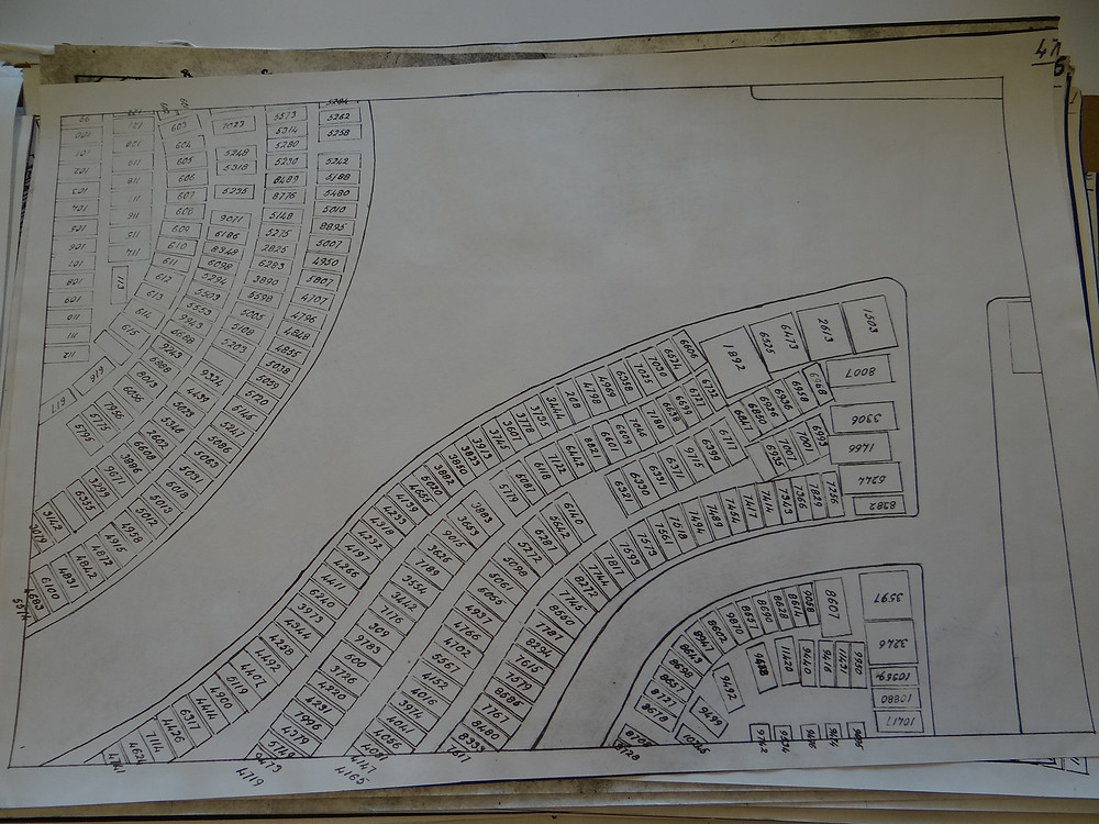 The grave plot plan for square 47.  The Jermin/Meyrick grave is number 6608.  See below for an annotated version of this map.