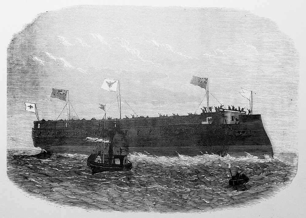The SMS Kronprinz on launch in London.  May 6th 1867