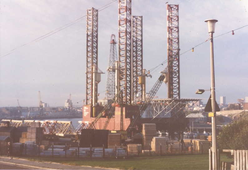 The ill-fated Interocean II oil rig being refitted in Sunderland