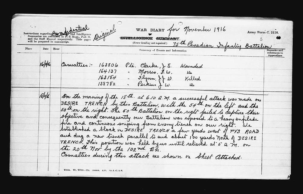 War diary of 75th Battalion for November 18th 1916.