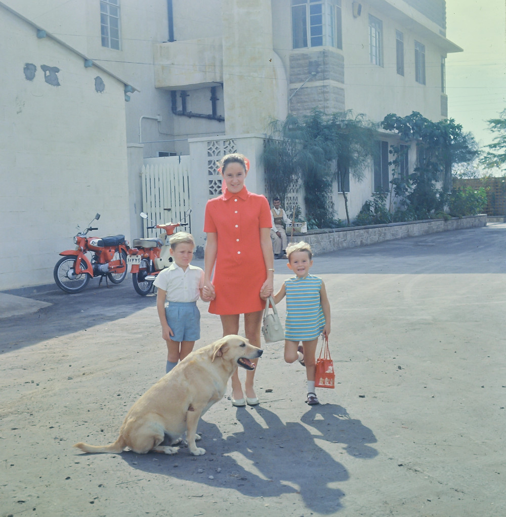 Dad took this photo of Mum in Bahrain with my sister and I and Cindy the dog.  I don't look happy, but otherwise it is a lovely photo.