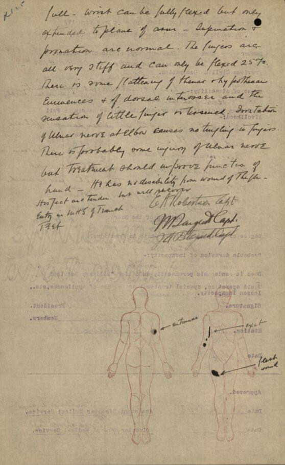 Part of Frederick Frost's medical records, detailing his injuries