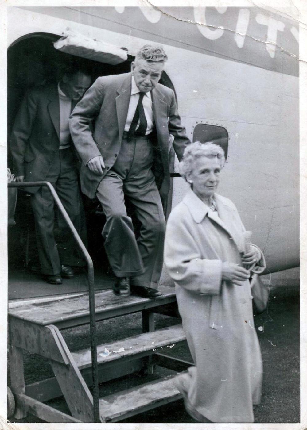 Dad's parents after a joy-ride flight around Blackpool